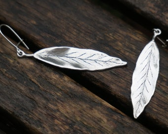 Silver Leaf Earrings, Leaf Earrings, Sterling Silver Earrings, Silver Dangle Earrings, Nature Earrings, Woodland Earrings