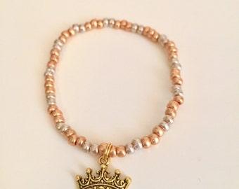 Silver and Gold Mardi Gras Crown Stretch Bracelet