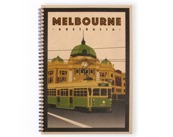 Notebook Personalise - Melbourne, Stationery, Recycled Paper, Writing, A4 Notebook, Lined Paper, Journal, Art, Blank Paper, Personalized