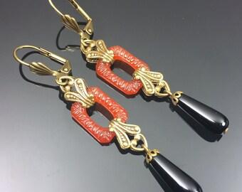 Art Deco Earrings w/ Carnelian Czech Glass