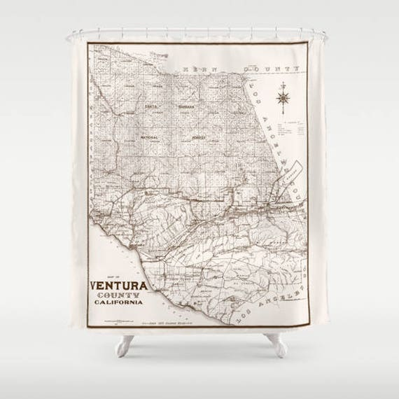 Ventura County Shower curtain California Vintage Map fabric