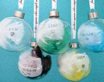 A Personalised Christmas Bauble. Hand Stamped Feather Any Names Dates, Colours. Personalised Bauble. Glass Bauble. Angels Near Memorial Gift