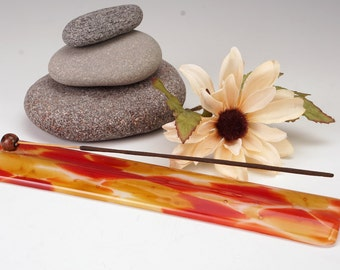 Sedona sunset glass incense burner, aromatherapy, yoga incense holder, meditation aid, yogi  gift, mothers day gift, hippie