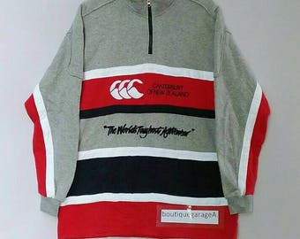 Rare!! Canterbury sweatshirt big logo spellout pull over jumper sweater hip hop half zipper grey colour large size