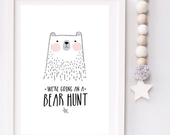 We're going on a bear hunt Modern Monochrome Nursery typography print