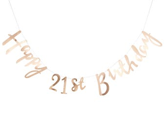 Gold 21st Happy Birthday Banner Bunting - Party, Celebration, Decorations