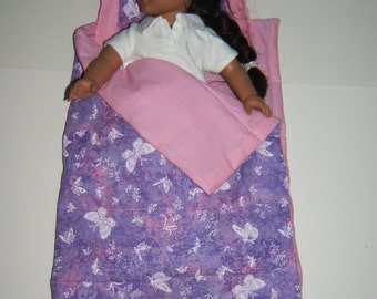 18 inch Doll Sleeping Bag Lavender and Pink