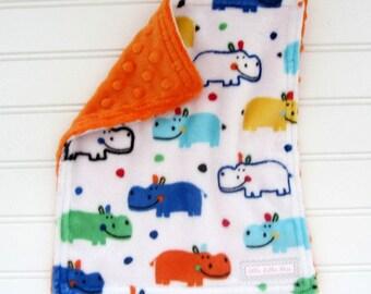 Baby Boy Mini Minky Lovey Colorful Hippos Lovey Blanket, Minky Back, Minky Lovey Security Blanket, Double Minky