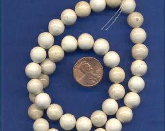 """16"""" Strand 10mm Fossil Beads: Tan"""