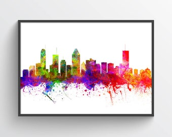 Montreal Quebec Skyline In Color Poster, Montreal City, Montreal Art Print, Home Decor, Gift Idea, CAQCMO02P
