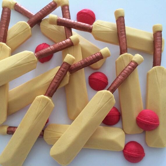 6 CRICKET BATS & BALLS Handmade Edible Sugar Paste Cake