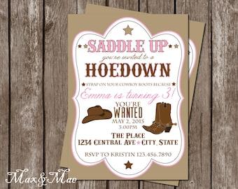 Cowgirl invitation Etsy