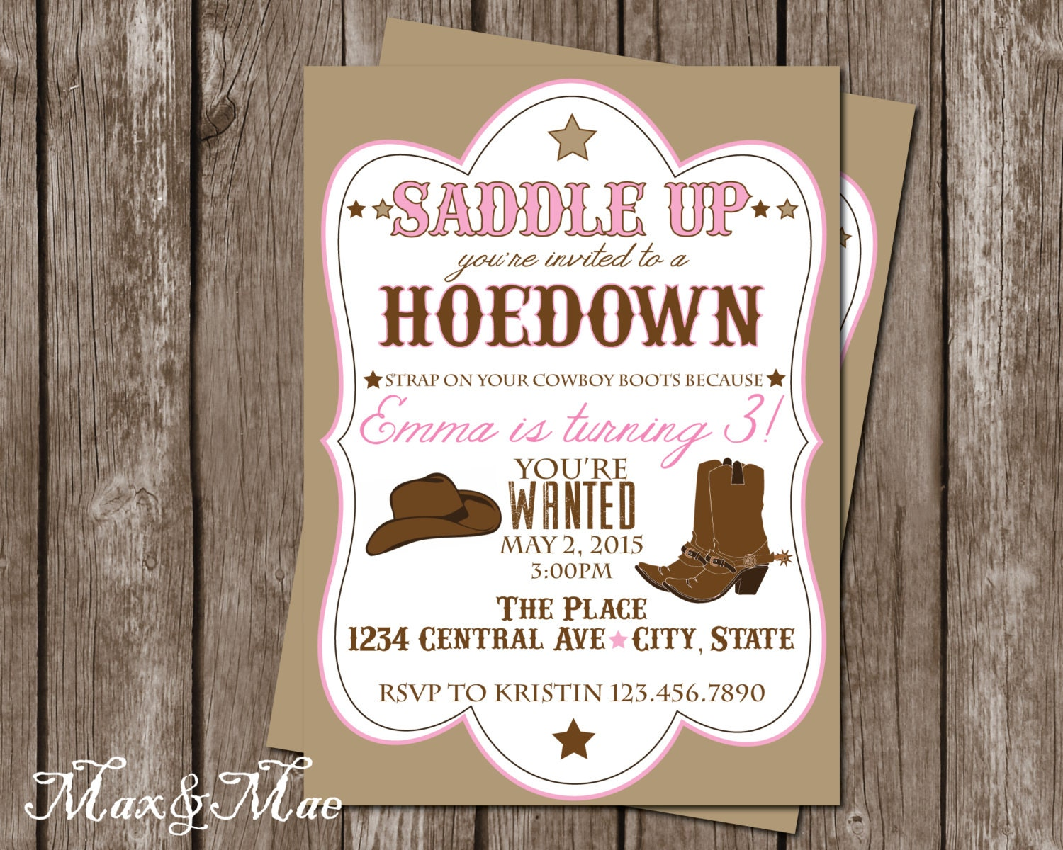 Cowgirl Birthday Party Invitation Hoedown Birthday Western