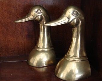 Distinguished Brass Duck Bookends, MCM Ducks, Mid Century, Mad Men, Book Ends, Duck, Duck Heads, Office Decor, Library, Bookshelf, Bookcase