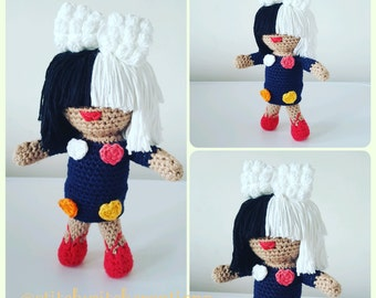 Sia Inspired Crochet Doll Pattern - Amigurumi PDF instant download