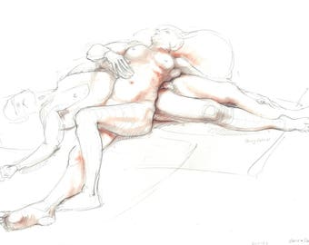 Nude pencil drawing with terracotta pastel. Life drawing. Male & Female Nude, reclining couple.  Art by Nancy Farmer. 2017-22