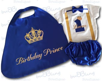 First Birthday Outfit Boy, Blue 1st Birthday Outfit, Cake Smash Outfit, Royal Blue and Gold, 1st Birthday Prince Outfit, Baby Prince Outfit