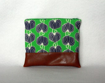 Blue and Green Zipper Pouch with Vinyl Accent - Amy Butler Print and Brown Vinyl