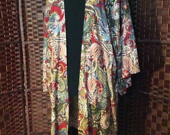 Bohemian red paisley Print, Rayon Kimono with Fringe