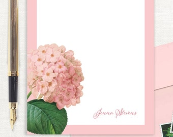 personalized notePAD - PINK HYDRANGEA - floral stationery - flower stationary - custom - letter writing paper