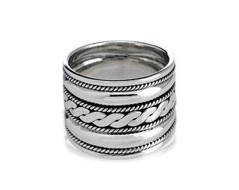 Sterling Silver Ring for Women, Cigar Band Silver Ring, Boho Ring, Celtics Braid Ring, Wide Band Ring, Bohemian Ring