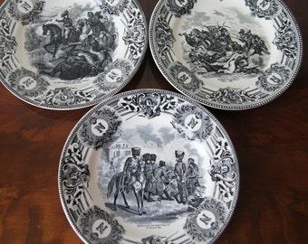 3 Napoleon Bonaparte Plates Boch Belgium