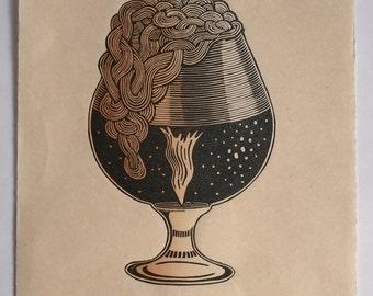 """Snifter of Stout - Linocut Print, 11x14"""""""