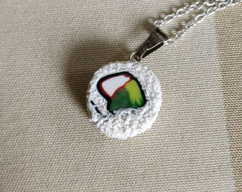California roll sushi charm - Food jewelry made with polymer clay