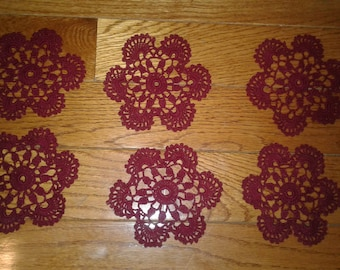 Set of 6 Crocheted Vintage-Style Coasters/Doilies