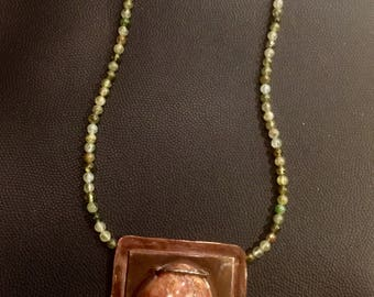 Red Quartzite Beachstone in a Copper Frame