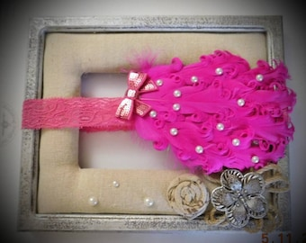 Hot pink ostrich feather headband
