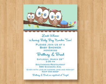 Owl Look WHOO is having Baby Brother Shower Invitations Digital File Cute Unique Adorable