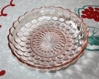 Pretty Pink Bubble Glass Serving Bowl, Vintage Anchor Hocking