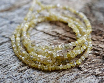 RESTOCKED Dainty Raw Rough Yellow Conflict Free Tiny Diamonds   Irregular Rondelles Nuggets   ~1.5mm   20 Piece Sets - Needs 30 Gauge Wire