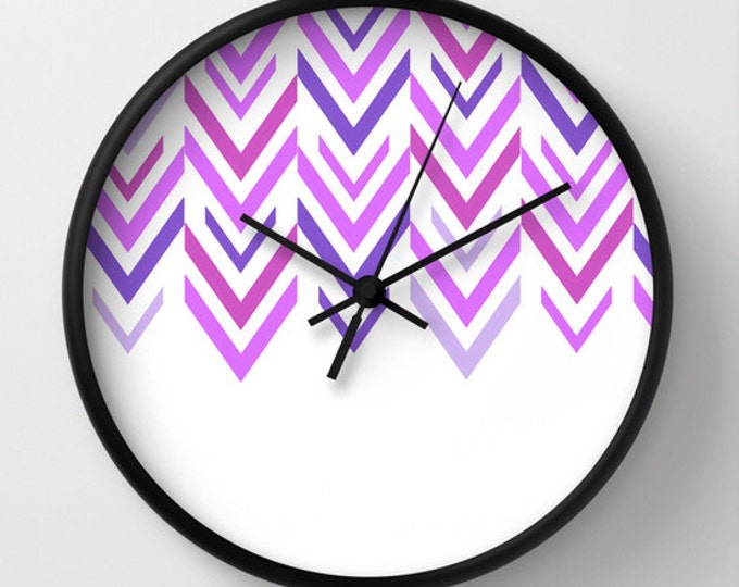 Purple Clock - Wall Clock - Shades of Purple - Arrow Clock - ZigZag Clock - Purple and White - Home Decor - Choice of Frames - Made to Order