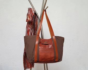 Fawn mix of Brown canvas and leather tote