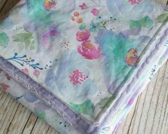 Watercolor Baby Blanket - Minky Blanket - Girls Baby Blanket - Purple Blanket - Toddler Blanket - Floral Baby Bedding - Baby Christmas Gift