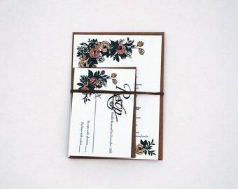 The Ina Collection - Floral Kraft Wedding Invitation Set in Peach, Pink, Forest Green, and Black - PURCHASE FOR A SAMPLE