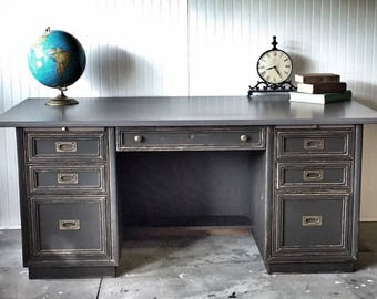 SOLD_Painted graphite Executive desk