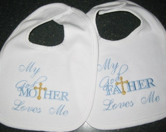 Baptism Gift, My Godmother/Godfather Loves Me, Baptism / Christening Machine Embroidery Design Bibs for Baby Boy or Girl