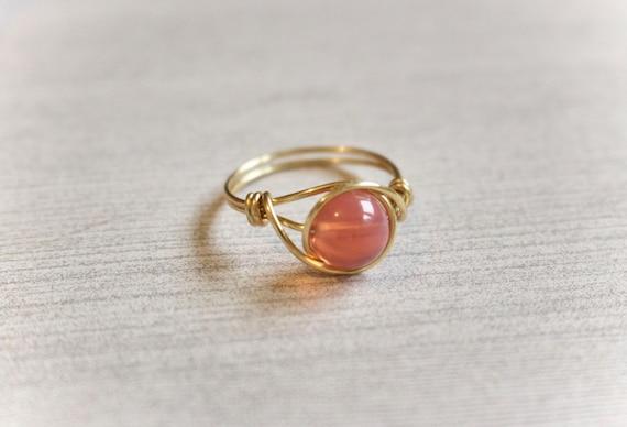 Draht umwickelt Ring Golddraht Ring gold Ring Rosa