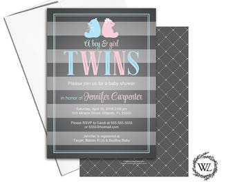 Twin boy and girl baby shower invitation bear, twin baby shower invite, gray pink blue stripes printable or printed invitation - WLP00769