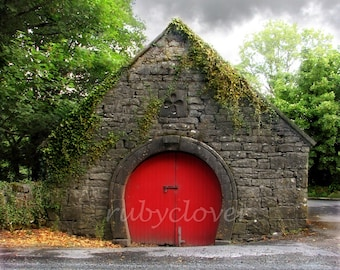 Cutest Building in the World, Co. GALWAY, Irish Stone Barn with Red Arched Door, IRELAND Architecture, Clover Stone, Ivy Covered,  Near Cong