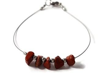 Pagan jewelry, red jasper jewelry, red stone bracelet, silver bracelet pagan, stone jewelry, earthy organic jewelry, silver jewelry shiny