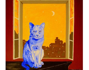 The Blue Cat, on Piano, moonlight, window and City Light, Original illustration Artist Print Wall Art, Free Shipping in USA.