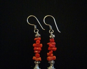 "Red coral and 925 Sterling Silver ""Luna"" earrings"