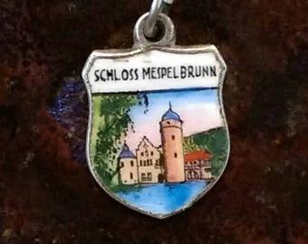 Schloss Mespelbrunn Germany vintage 800 silver enamel scenic travel shield charm  pendant or key chain souvenir