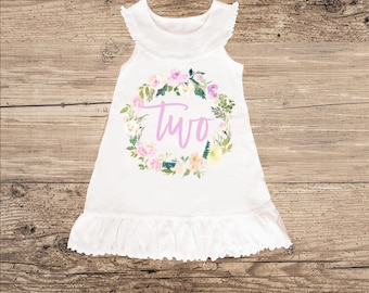Second Birthday Dress with Floral Wreath, Sleeveless Ruffle Dress