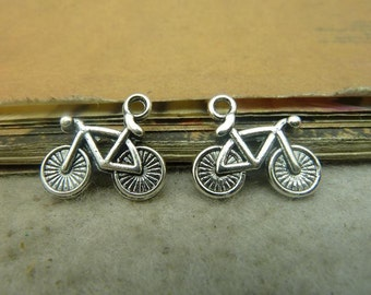 25 Bicycle Charms Antique Silver Tone
