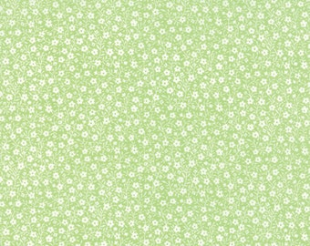 Sew & Sew - Moda Fabric - Half Yard - Floral Apron Strings Limeads White Flowers on Light Green Quilt Fabric Chloe's Closet 33186 14
